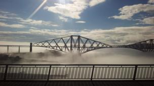 An atmospheric view over the Forth Rail Bridge taken by Lorna Sinclair from Dunfermline