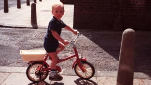 Bradley Wiggins aged 2 on his first ever bike. Bradley Wiggins as a boy.