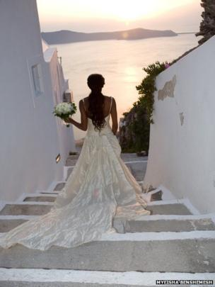 Bride in her wedding dress in Santorini