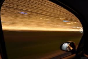 Lights through a car window