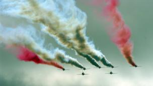Peter Stanford from Dunfermline took this image of the RAF Red Arrows display team flying into a cloud at the Leuchars airshow in Fife