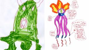 Green alien by Jack and alien drawn by James