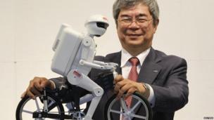 A robot on a bike