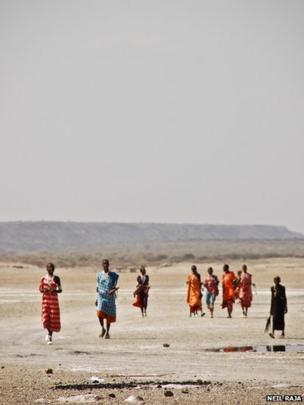 A group of women crossing the salt lake in Magadi