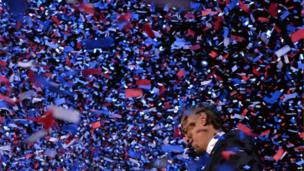 President Barack Obama after his victory speech at McCormick Place in Chicago, Illinois