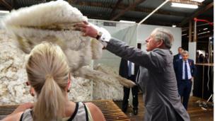 Prince Charles visits a sheep farm in Australia