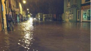 Flooding in Llanberis, Gwynedd