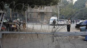 Barbed wire on Qasr al-Aini Street, blocking entry to an area housing Western embassies