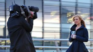 Hayley Cutts outside Media City UK.