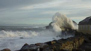 Waves breaking on Stonehaven shore