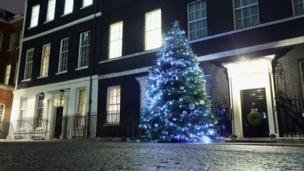 Christmas tree outside Downing Street, London.