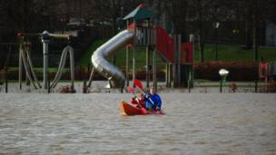 Kayaking in a flooded Haugh Park in Cupar, Fife.