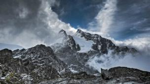 Snow topped mountains