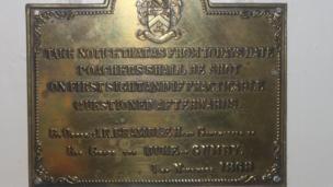 Brass plate sign