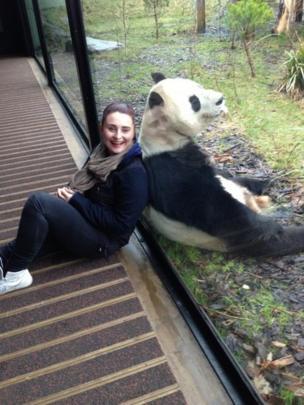 Naomi and a giant panda