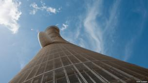 The Aspire Tower, a hotel, was originally built for the 15th Asian Games hosted by Qatar in 2006. The building, at 300 metres (984 feet) high, can be seen from most parts of the city.