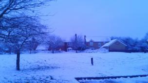 Snowy street in Peterborough