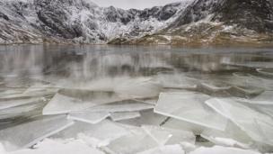 Ice on Cwm Idwal, Snowdonia