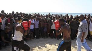 Boxers on the beach in Mogadishu, Somalia - Friday 25 January 2013