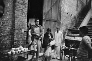 Satyajit Ray at a Calcutta studio
