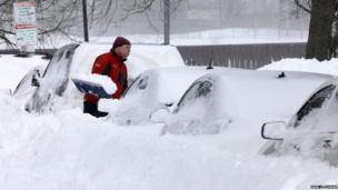 Man digs out car in Boston