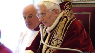 Pope Benedict XVI reading his resignation letter.
