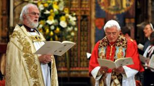 The Pope in Westminster Abbey.