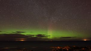 Alan Tough took this picture of a northern lights display from Hopeman in Moray.