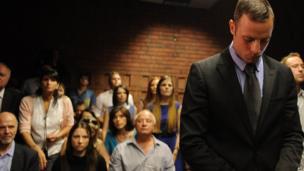 Oscar Pistorius in court in Pretoria, 21 February 2013