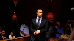 Oscar Pistorius in court in Pretoria, 21 February 2013