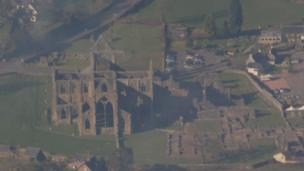 Clint Budd sent in this photo of Tintern Abbey in Monmouthshire which was taken from 2500 ft on a flight from Cardiff to Gloucester.