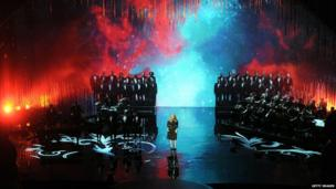Adele performs at the Oscars ceremony.