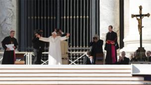 Pope Benedict XVI waves in St Peter's Square, 27 February 2013