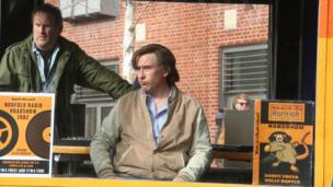 Actors Colm Meaney and Steve Coogan in the outside broadcast van