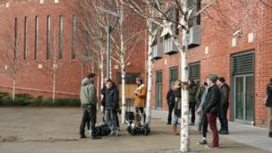 Some members of the film crew outside The Forum, Norwich