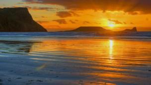 Llangennith Beach on Gower by Ian Keevil