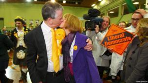 Mike Thornton kisses his wife Peta