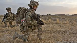 Photograph of Captain Anna Crossley, a Female Engagement Officer, in the Upper Gereshk Valley of Helmand
