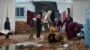 People washing up in the camp