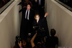 Australian Prime Minister Julia Gillard greets party members at the University of Western Sydney