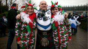 Wales and Scotland fans outside Murrayfield before the RBS Six Nations match