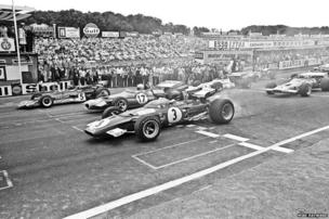 Jacky Ickx in a Ferrari 312B with Jack Brabham and Jochen Rindt at the start of the 1970 British Grand Prix at Brands Hatch