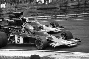 JPS teammates Ronnie Peterson and Jackie Ickx in Lotus 72s during the 1975 Race of Champions