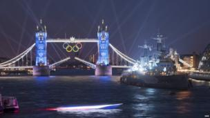 HMS Belfast on the opening day of the 2012 London Olympics