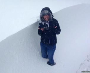 Rui Pereira standing in a snow drift