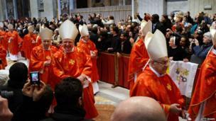 Cardinals leaving Mass