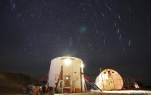 The night sky above the Mars Desert Research Station