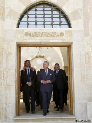 Prince Charles with next to Jordan's Prince Ghazi as he visits the King Hussein mosque