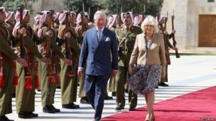 Duke and Duchess of Cornwall are welcomed to Jordan