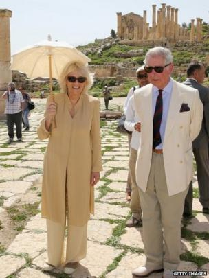 Prince Charles and the Duchess of Cornwall visit the ancient Roman ruins in Jeresh, Jordan, on 13 March 2013